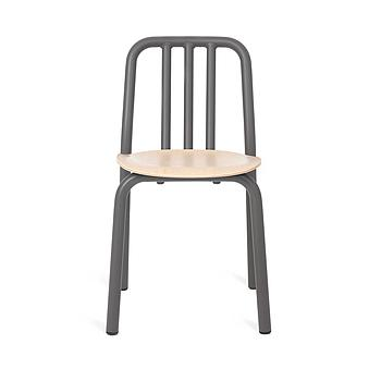 Silla Tube wood con asiento de roble - Gris antracita